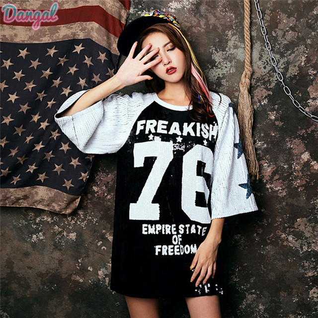 64f06ed6970 Large Size Women T Shirt Loose Sequin T shirt Girl Sequins 76 Number ...
