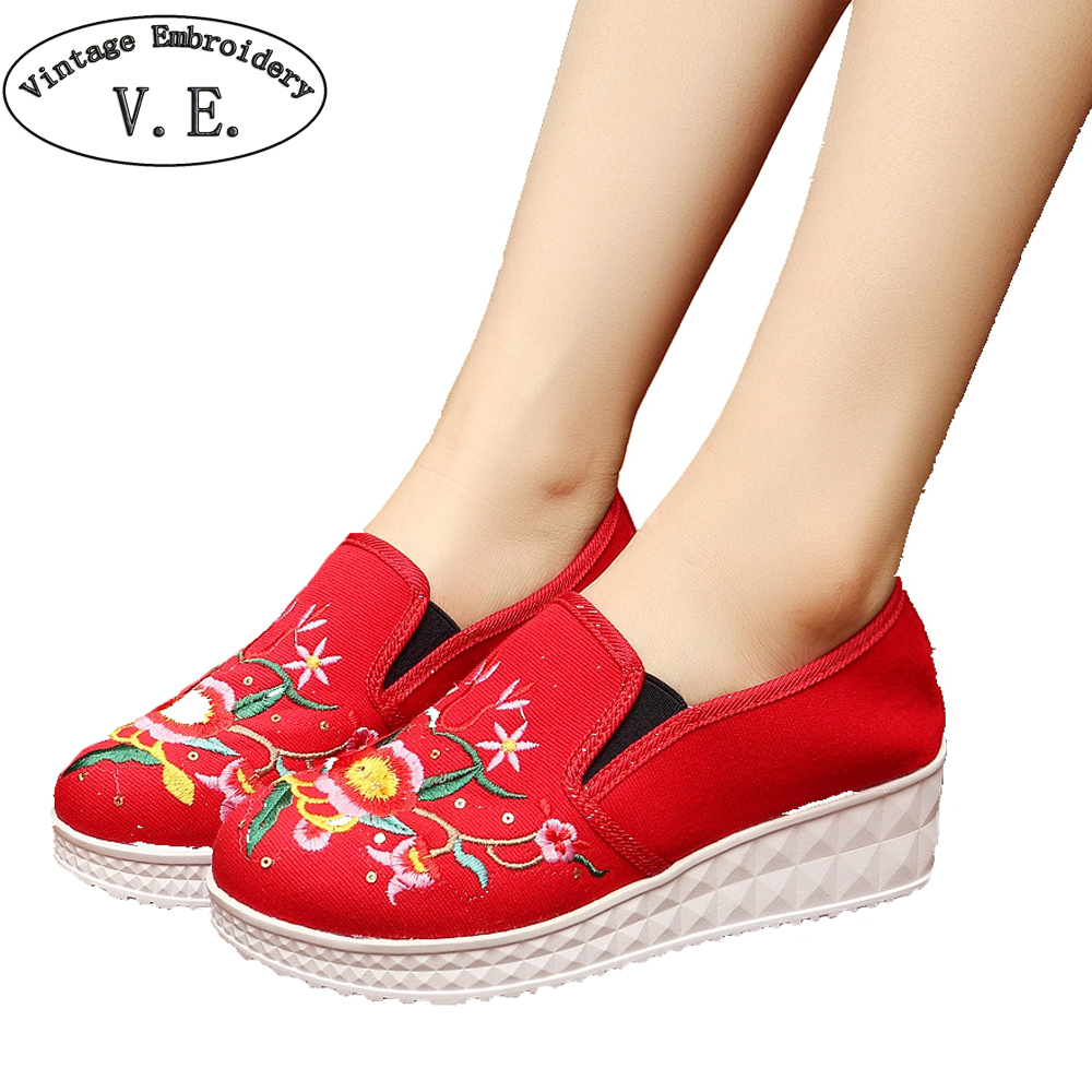 Vintage Women Flats Casual Shoes Floral Embroidery Canvas Fashion Platform Cotton Cloth Shoes Woman Sapato Feminino wegogo canvas women casual shoes embroidery national casual flat shoe embroidered travel shoes flats sapato feminino bordado
