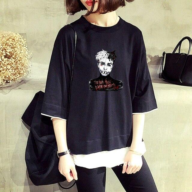 4a96c0d1422 Hip hop singer xxxtentacio T shirt Ms. short sleeved shirt fake two ...
