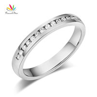 Peacock Star 14K Solid White Gold Wedding Band Half Eternity Ring 0 17 Ct Diamonds