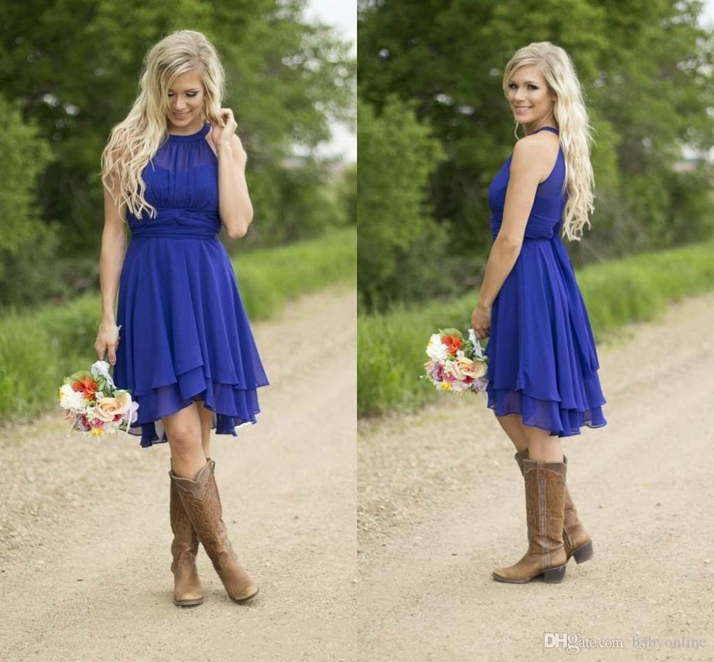 b7659bb2a351 2017 Fashion Royal Blue Country Bridesmaid Dresses Short Hi-lo Halter A  Line Chiffon Party Gown Bridesmaids Backless Dress B75