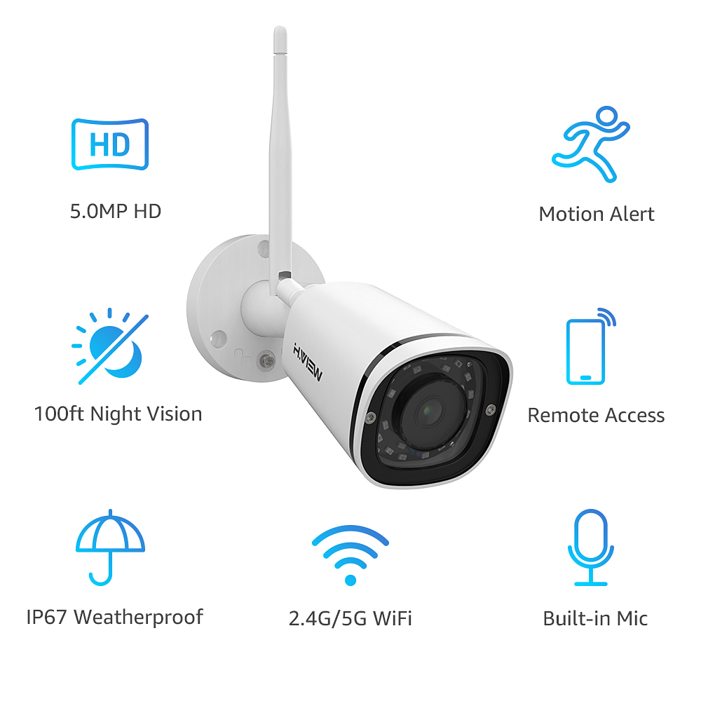 Image 2 - H.VIEW 4MP IP Camera Wifi Outdoor 2.4G 5G 5MP IP Cameras Wifi 5MP CCTV Camera Outdoor Onvif Smart IR CCTV Cameras Wireless-in Surveillance Cameras from Security & Protection