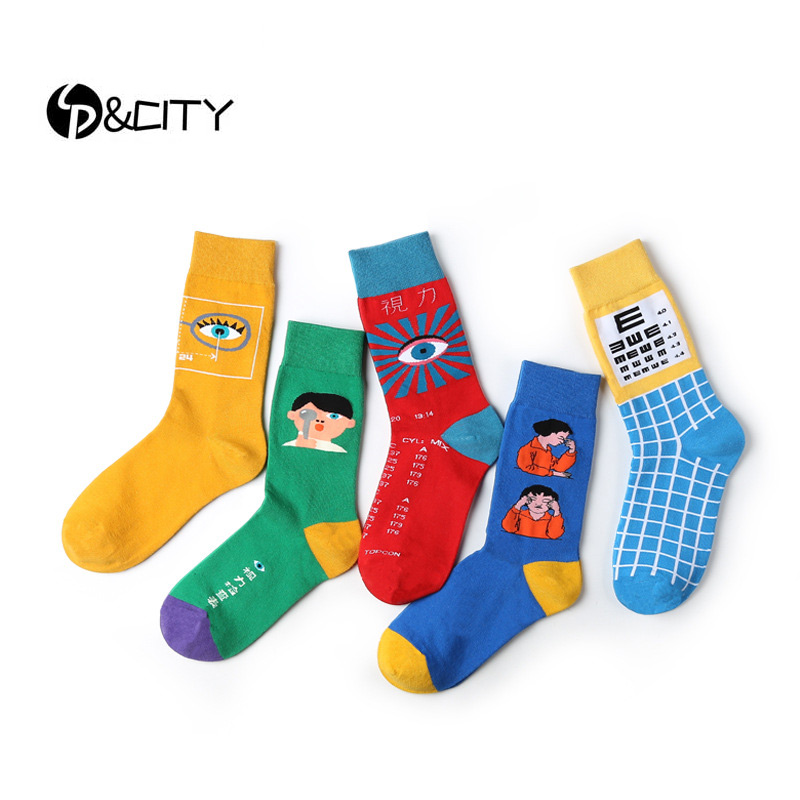 SP&CITY Colorful Eyes Patterned Cartoon Funny   Socks   Harajuku Women Chic Cute Cotton Short   Socks   Unisex Vintage Art Kawaii   Socks