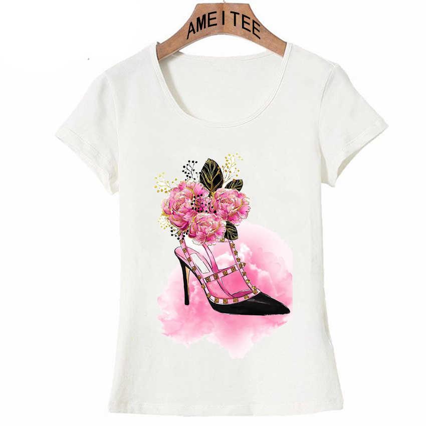 14116063aa1e Новинка 2018 года; розовая футболка на высоком каблуке с цветочным ...