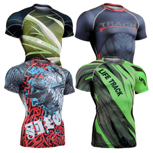 3d Full Prints T shirts Mens Compression Shirt Base Layer Short Sleeve Workout Fitness MMA Body