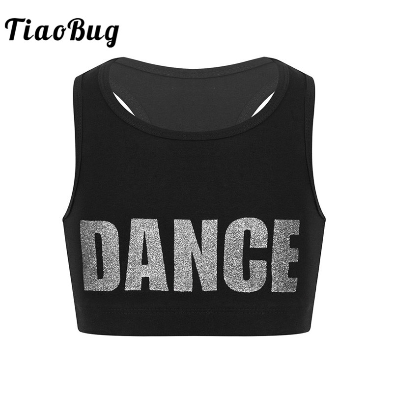 <font><b>TiaoBug</b></font> Kids Girls Sleeveless Shiny Letters DANCE Printed Crop Top Sports Gymnastics Ballet Tops Stage Performance Dance Costume image