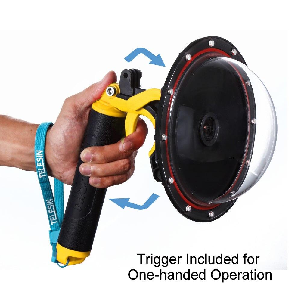 TELESIN 6 Dome Port Waterproof Case Floating Trigger Dome for SJCAM SJ6 SJ7 Action Camera Lens