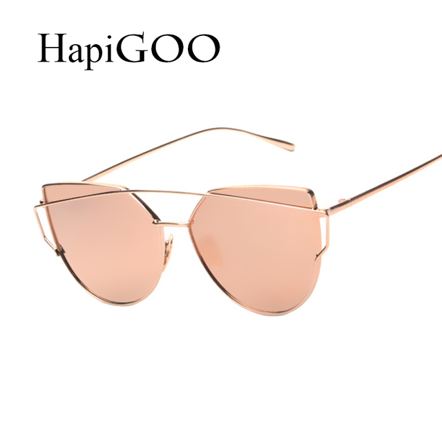 HapiGOO 2016 New Rose Gold Cat Eye Sunglasses Women Brand Designer Twin-Beams Mirror Sun Glasses Men Fashion Cateye Sunglasses