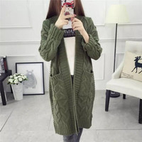Long Section V Neck Women Sweaters 2017 Autumn Winter Knitted Thicked Warm Cardigan Pockets Design Female