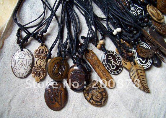 TNL345   Mix order Tibetan Yak Bone carved Totem symbols,Man`s amulets pendants necklace 10pcs lot