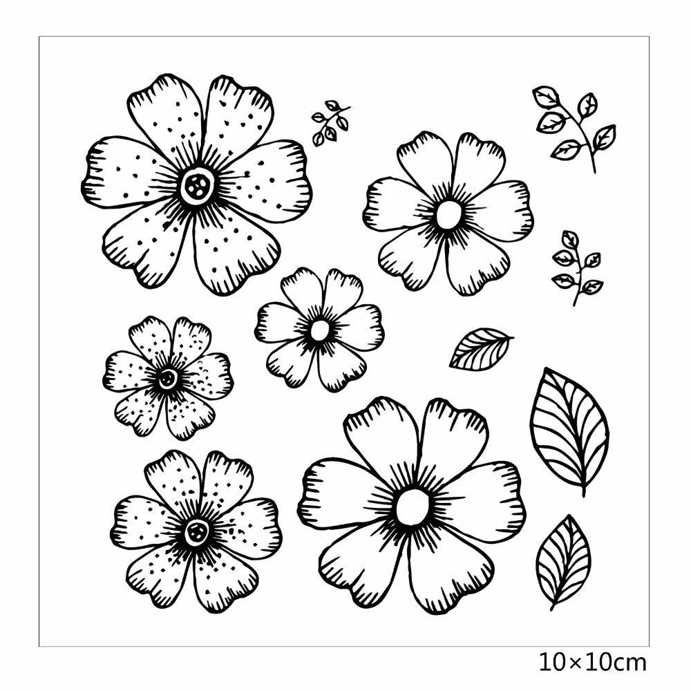 ZhuoAng Beautiful flowers Rubber Clear Stamps and Cutting