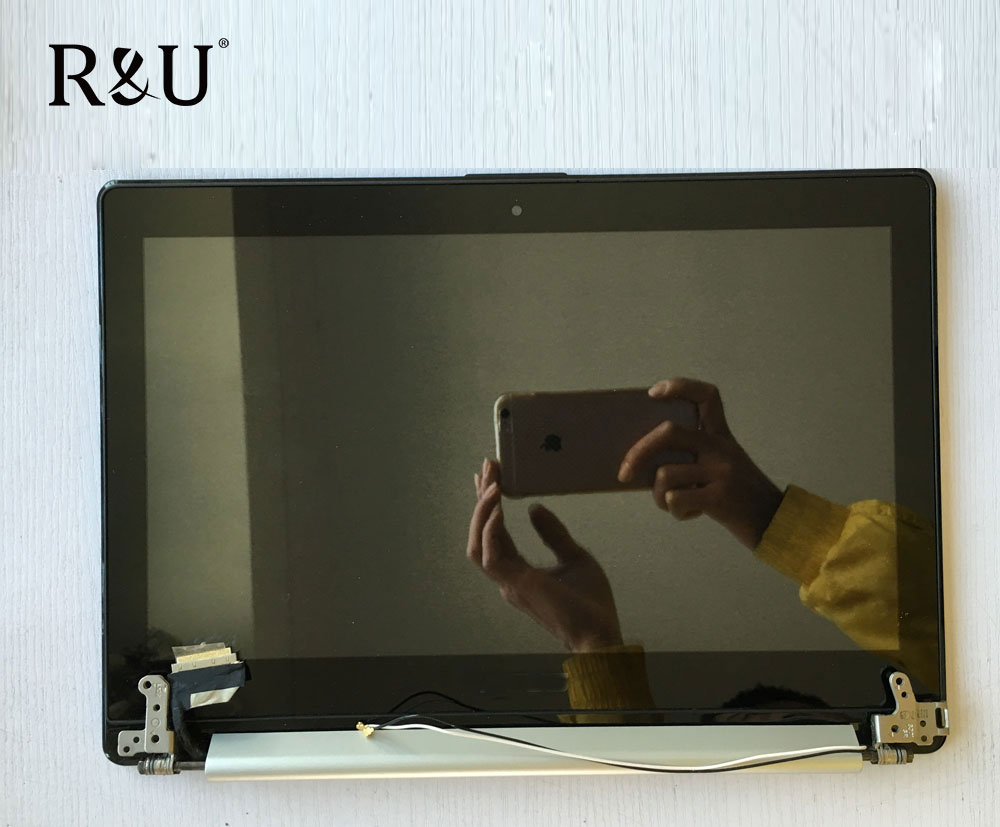 R&U test good lcd screen display with touch screen digitizer assembly with frame Upper half set For ASUS VivoBook S301 S301LA