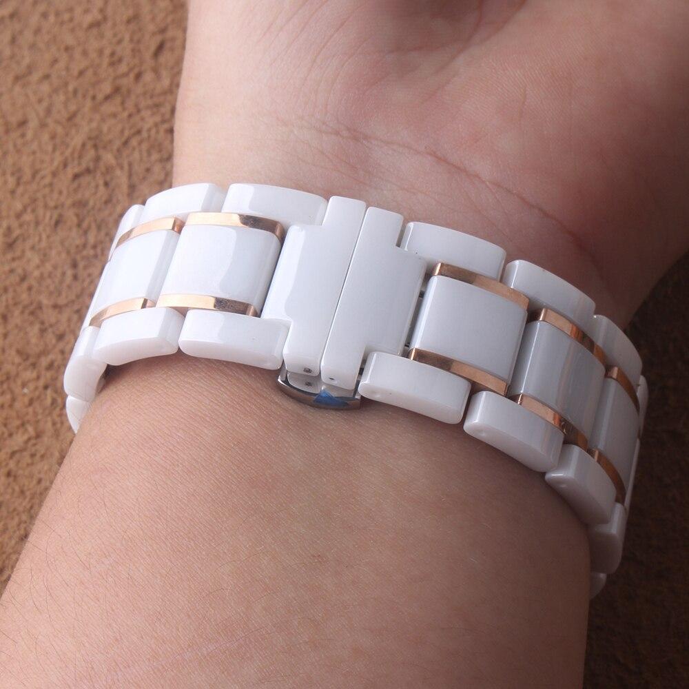 Bracelet en céramique blanc avec des bracelets de montre en or rose fermoir papillon bracelet en céramique hommes femmes bracelet de montre 18mm 20mm 22mm 24mm - 2