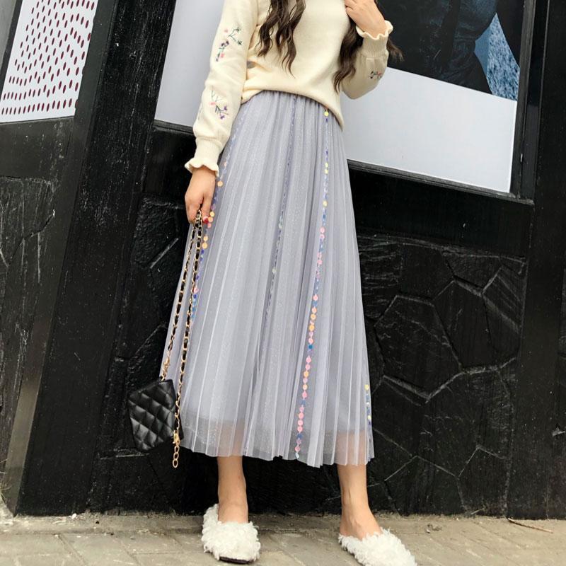 YICIYA purple mesh sequin skirt women midi plus size pleated tulle tutu tule rok a line 2019 summer casual black clothing