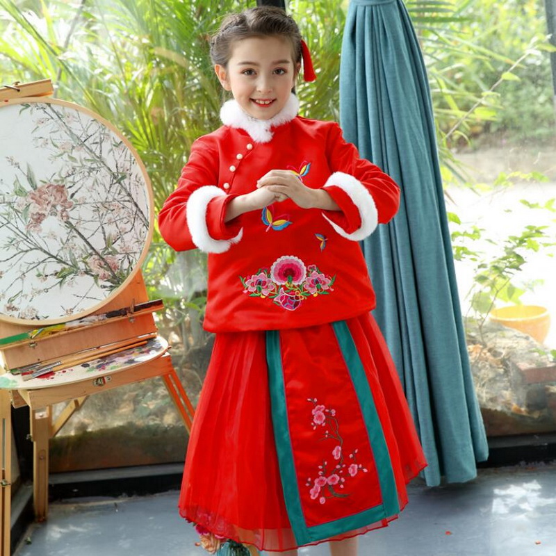 Girls Winter Tutu Dress Chinese Style Embroidery Cheongsam Party Dresses Kids Qipao For New Year 2018 Arrivals 2 PCS