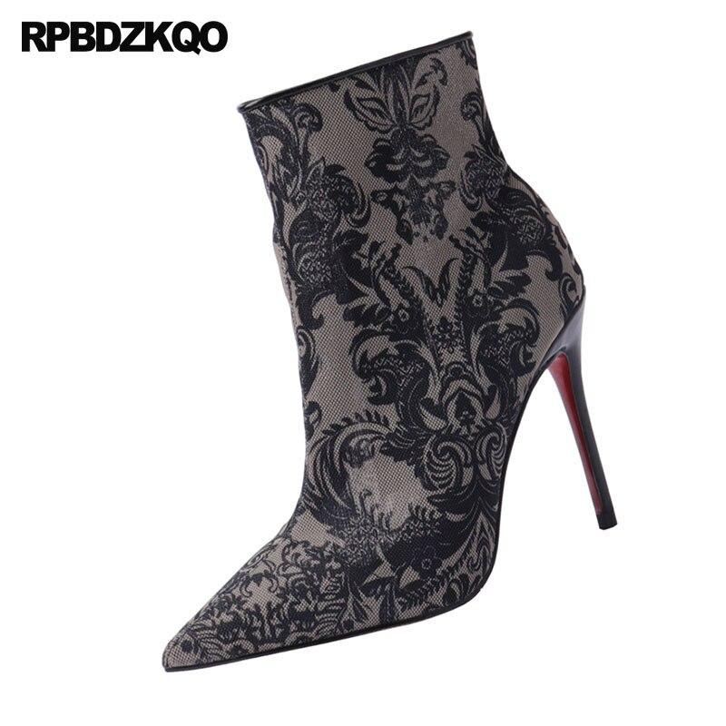 Femmes Côté Fétiche Pointu Maille Bottes Chaussures Black Bout Imprimé Zip 10 clack Exotique Fleur Talon Grande Haute Taille 8cm Stiletto 10cm Chaussons Danseur Noir qaanOvxEr