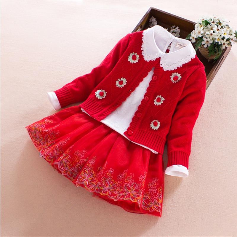 Enfants filles ensembles 2017 printemps automne hiver fleur coton à manches longues fille boutique tenues 3 pièces princesse enfants vêtements 4-10 T
