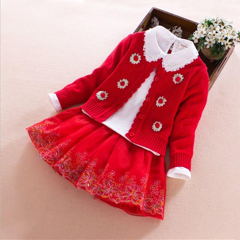 Kids Girls Sets 2017 spring autumn winter flower Cotton Long Sleeve girl boutique outfits 3pcs princess Children Clothing 4 10T
