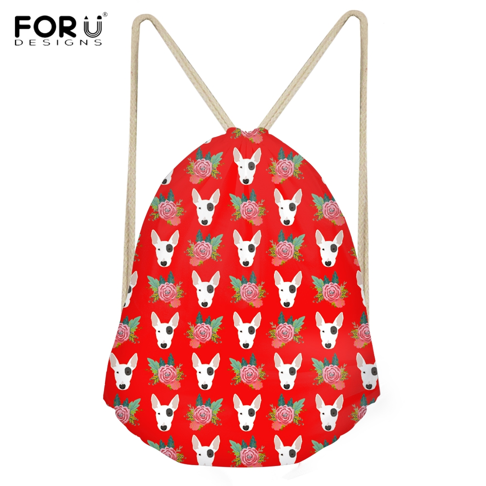 FORUDESIGNS Woman Red Drawstrings Bags Funny Dog Bull Terrier Floral Pattern Girls Sack Bags Softback Storage Large Beach Bags