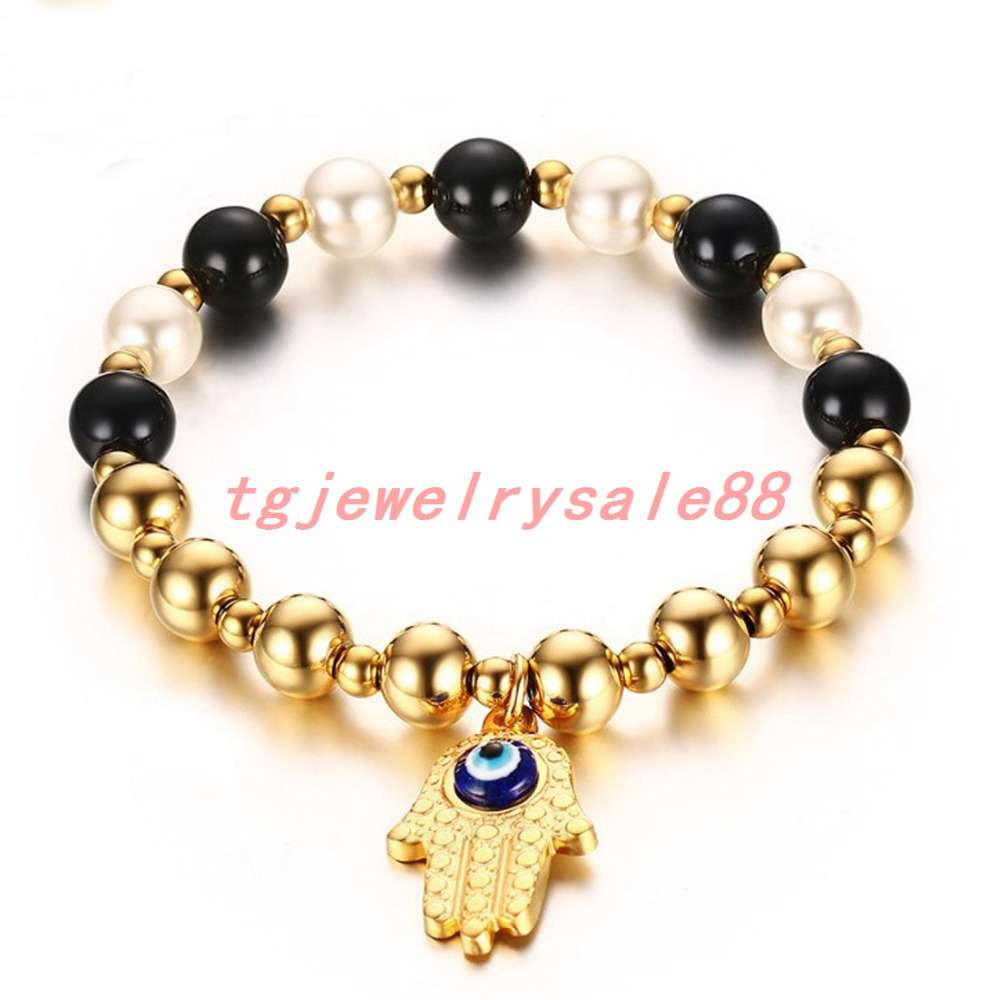 8mm Perfect Design Black White Pearl Goldcolor Round Ball Beads Stainless  Steel Palm Bracelet