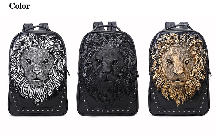 Lion Image Men Backpack PU Leather Backpack Big Capacity Computer Laptop Backpack Men bags Travel Bag for Teenagers Waterproof