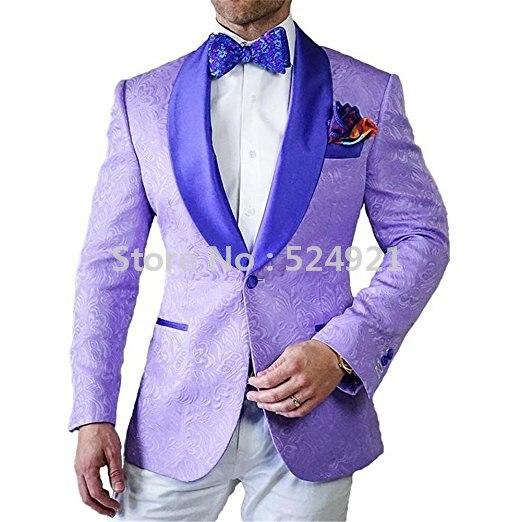 Hot Selling Groomsmen Lavender Groom Tuxedos Shawl Satin Lapel Men Suits Wedding/Prom Best Man Blazer ( Jacket+Pants+Tie ) C256