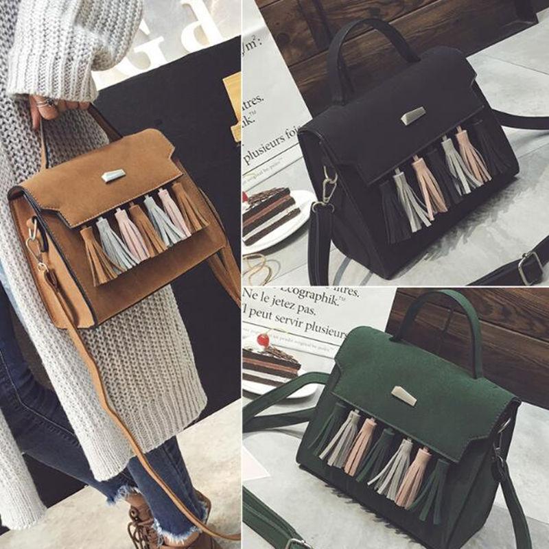 ФОТО High end matte PU material women's handbag messenger bag tassel handbag for gift