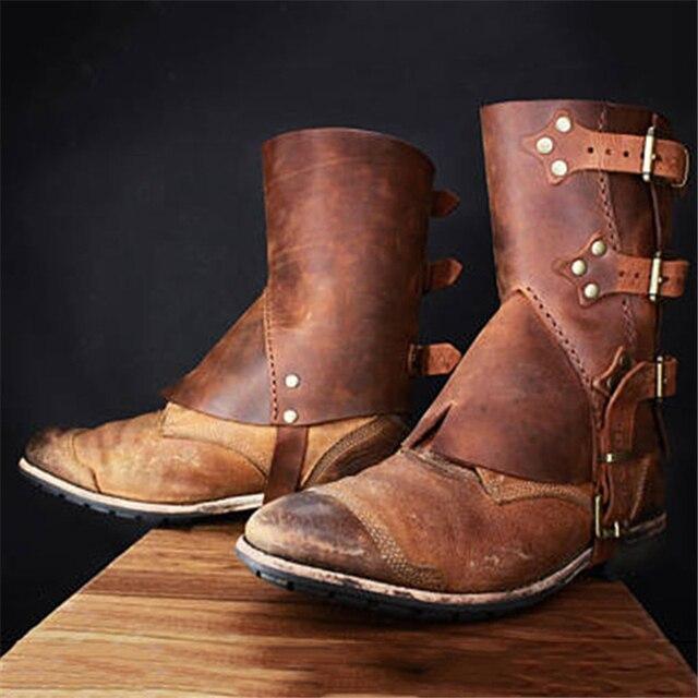 Ortaçağ Retro Erkekler Ve Kadın Savaşçı Rol Oynayan Asker Şövalye Zırhı Ayakkabı erkek Ve Kadın erkek Zırh Çizmeler COS ayak koruyucu