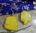 Joyería de moda Del Pendiente Brillante Amarillo Turquesa Silce Piedra barroca Cuelga Del Gancho Del Pendiente de Regalo