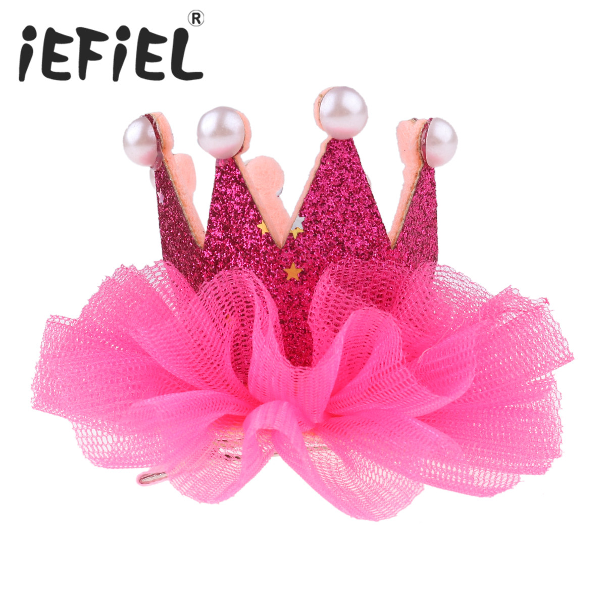 Kids Baby Girls Faux Pearl Glittery Princess Crown Tiara Hair Clip Hairpin Barrette Hair Ornaments Birthday Party Gift Headwear