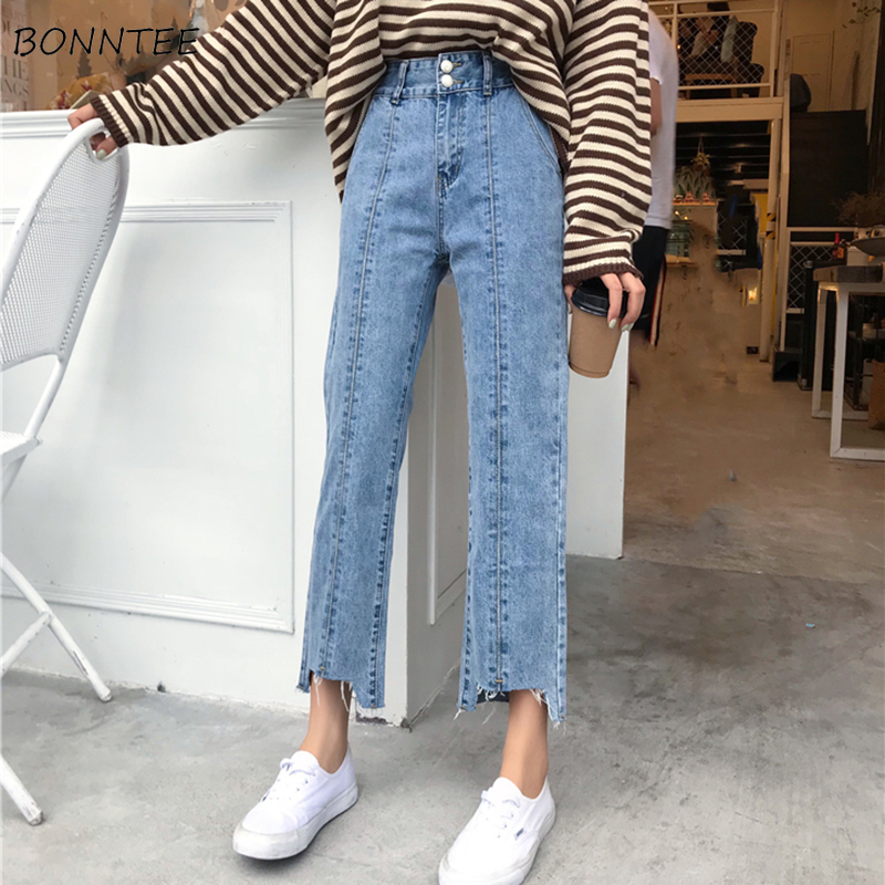 Jeans Woman Irregular Elegant Loose Soft Ladies Streetwear All-match Korean Style Womens High Waist Students Single Button Chic