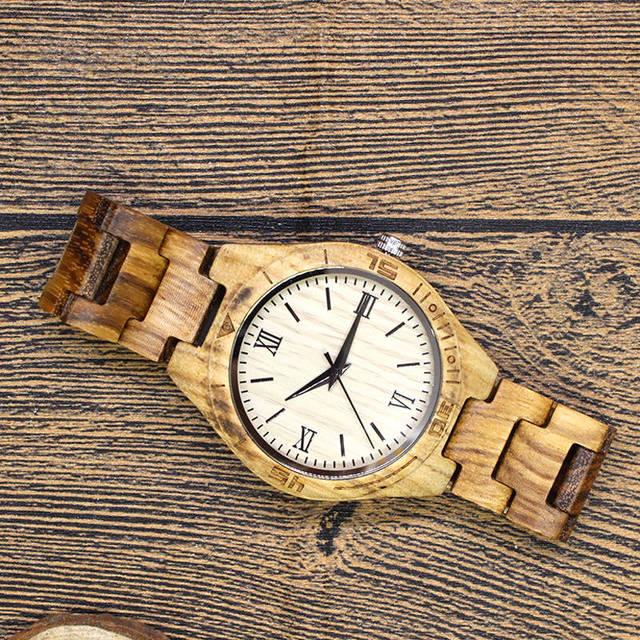 TJW 2017 Top Brand Mens Wood Watch sanders Wooden Bamboo  male business watch