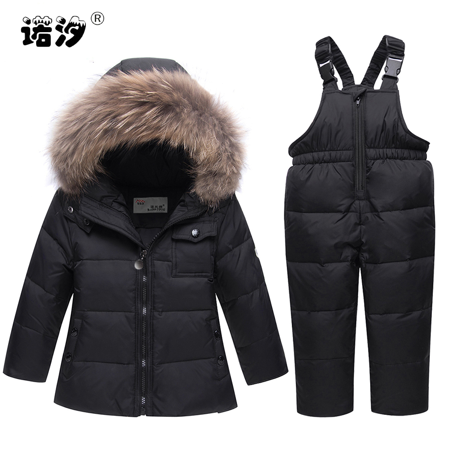 Baby clothes Girls Clothes Sets boys winter white duck Down jacket+pants boys thick hooded coat Waterproof Snowsuit 1-5 Y tops