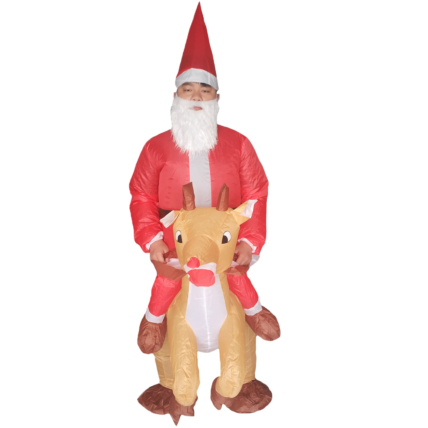 Inflatable Santa Claus Riding Reindeer Costume Adults Party Christmas Mascot Blow Up Costume Women Men Xmas Cosplay Outfit