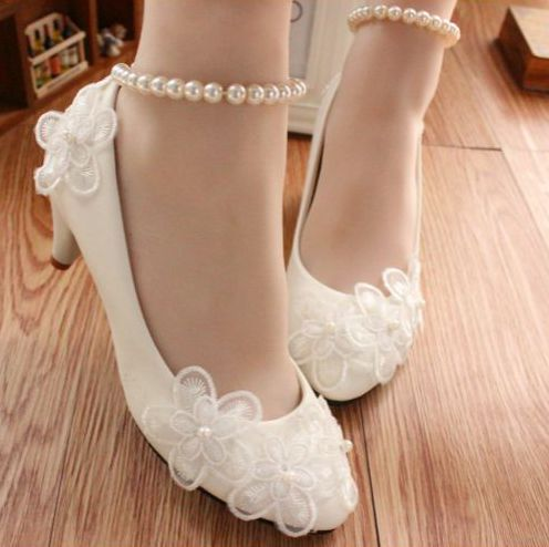 ФОТО White low high heels bridal shoes. beading pearls anklet ladies dance dress pumps, lace flowers girls party shoes hot sales