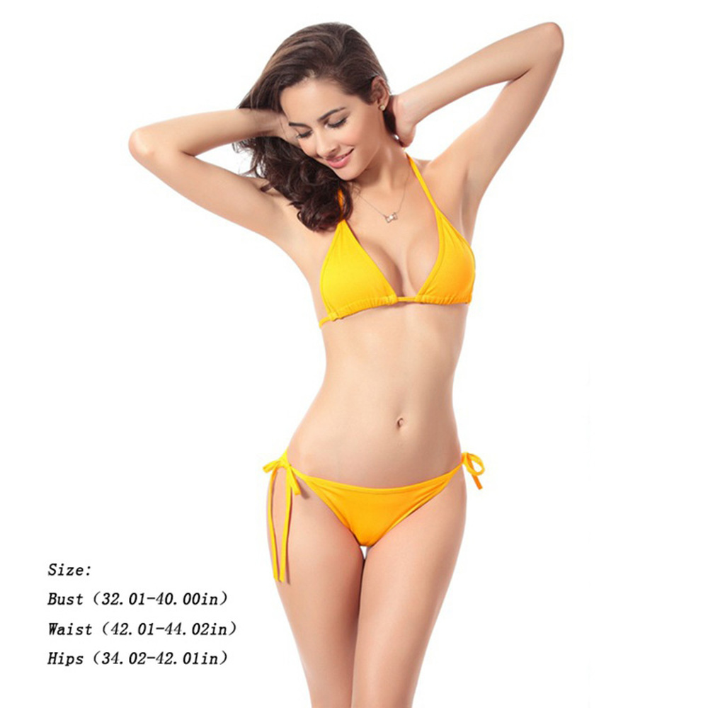 Women Sexy Pure Color Swimsuit Two Piece Suits Sling Bikini Triangle Low Waist String Swimwear Female Strappy Halter Bathing Sui