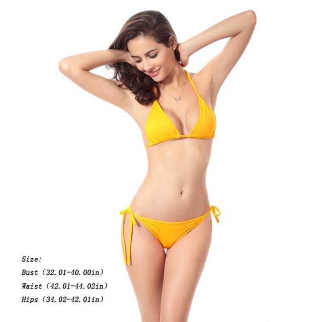 9c01f65d4fd92 Women Sexy Pure Color Swimsuit Two Piece Suits Sling Bikini Triangle Low  Waist String Swimwear Female
