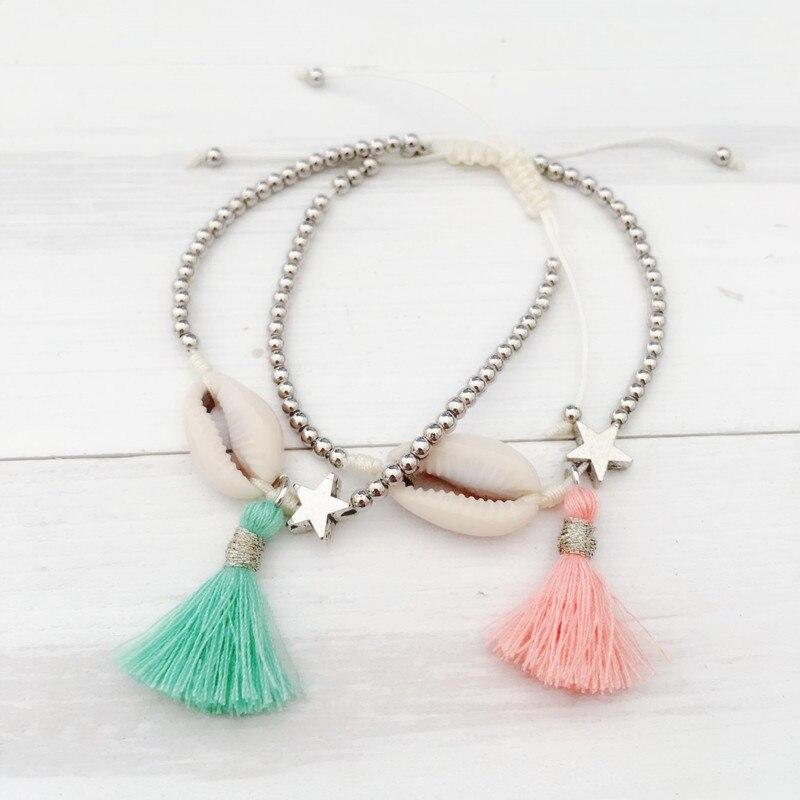 Dongmu jewellery bohemian style fashion hand rope braided bracelet beach shell element little girl bracelet lady birthday gift