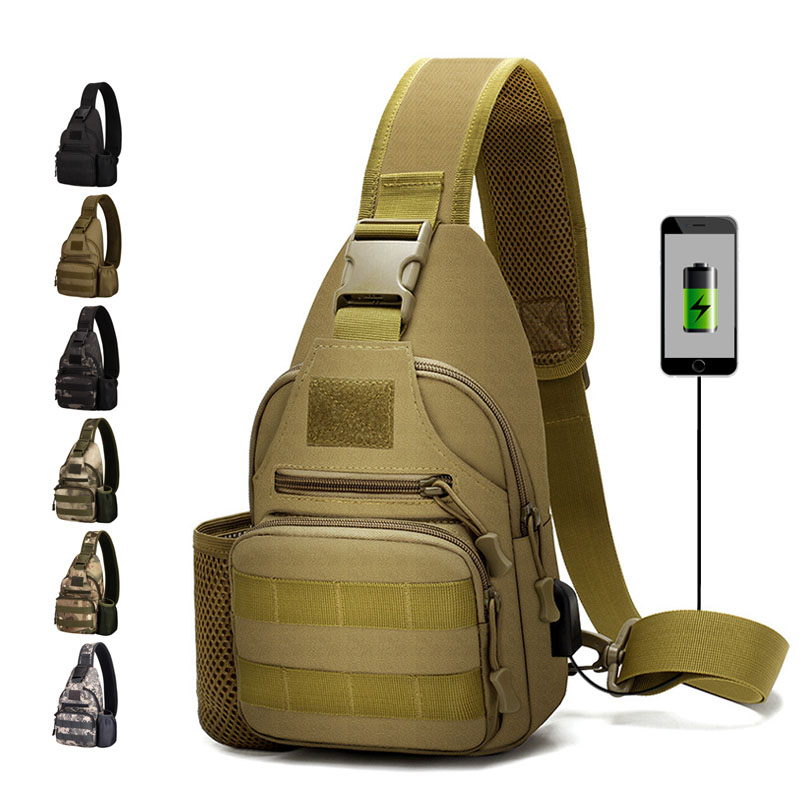 600D Outdoor Waterproof Tactical Shoulder Bag USB Military Army Camping Hiking Bag Backpack Utility Camping Travel Trekking Bags