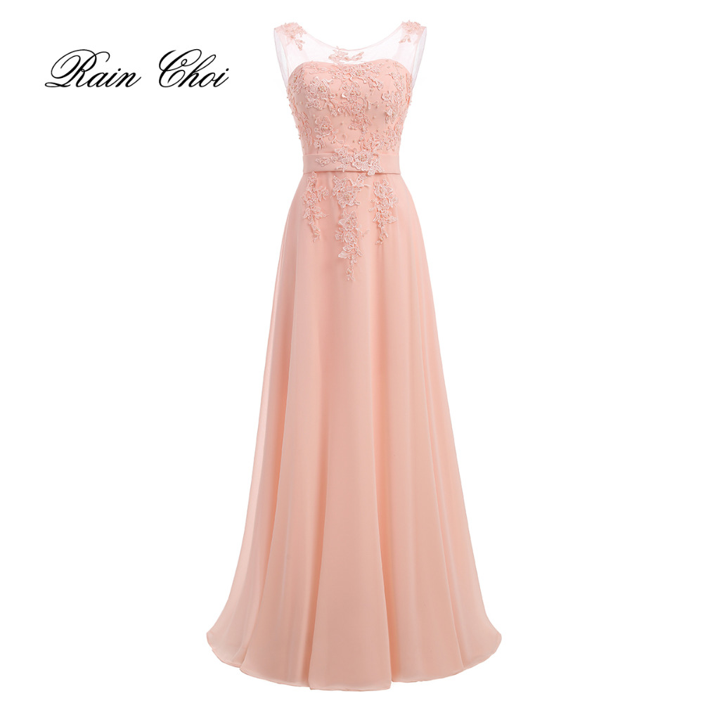 Long Evening Dress 2019 Formal Party Dress Appliques Chiffon Evening Gown