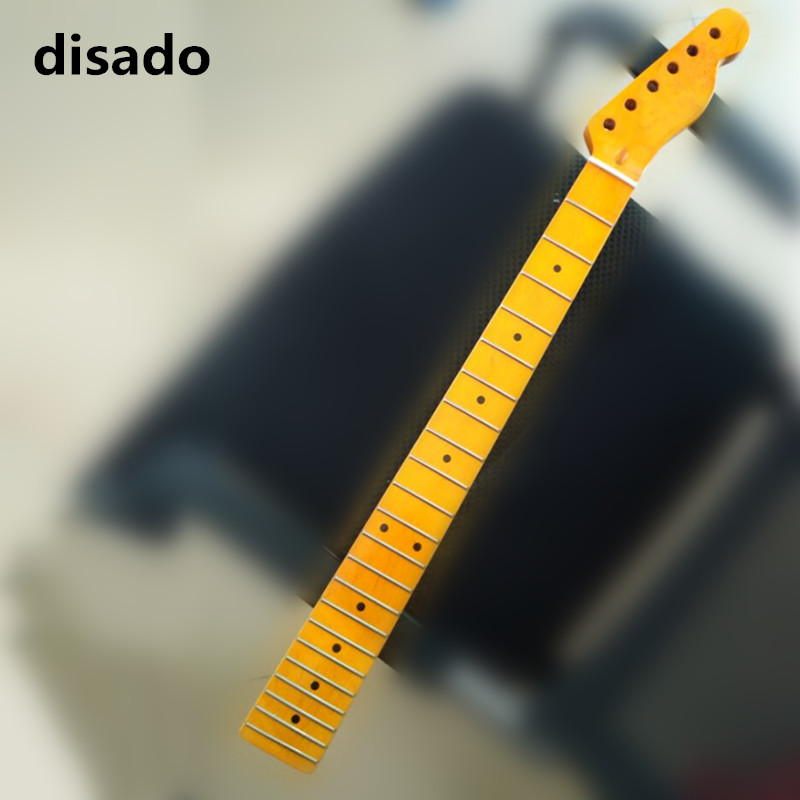 disado 22 Frets Maple Neck Maple Fingerboard Yellow Glossy Electric Guitar Neck Guitar parts accessories цена