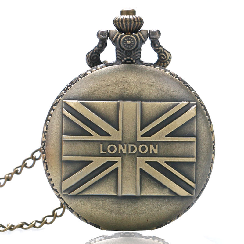 Antique Vintage Retro Bronze Brown LONDON Union Jack Necklace Quartz Pocket Watch Men Women Gift P81