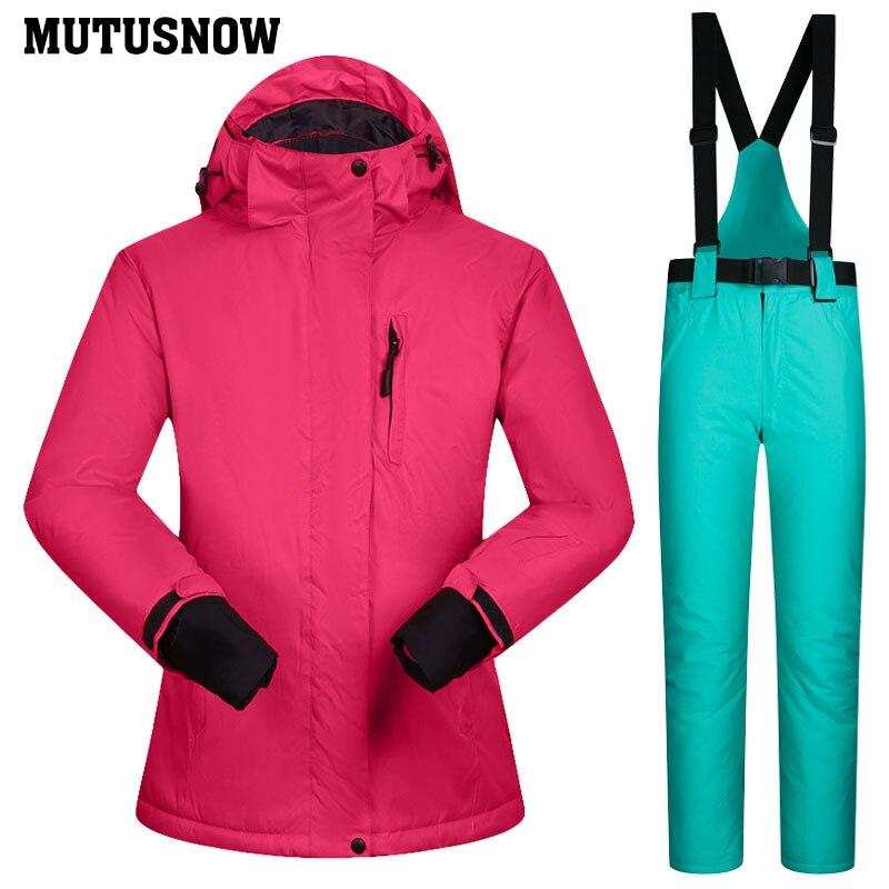 Snowboard costumes femmes hiver coupe-vent imperméable femme veste de Ski et pantalons de neige ensembles Super chaud marques femmes Ski costume - 6
