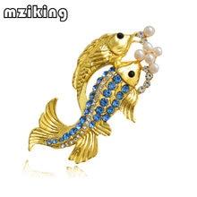 Mziking 2019 новая Золотая брошь с рыбой для женщин кристаллами
