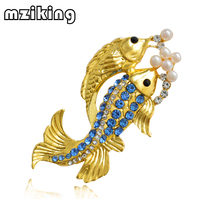 mziking 2019 New Gold Fish Brooch for Women Crystal Brooch Simulated Pearl Animal Enamel Pin Jewelry Clothes Accessories Brosh caizi new blue dragon brooch cute fish animal brooches for women simulated pearl enamel pin wedding jewelry clothes accessories