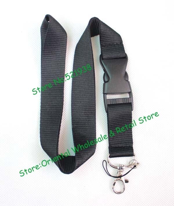 30 pcs lot Blank black solid Lanyard Key Chain ID Card Badge Holder Men Sport Team