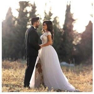 Image 2 - Luxus Afrikanische Hochzeit Kleider Meerjungfrau Appliques Abnehmbare Zug Klassische Brautkleider 2019 Elegante Informelle Braut Kleid