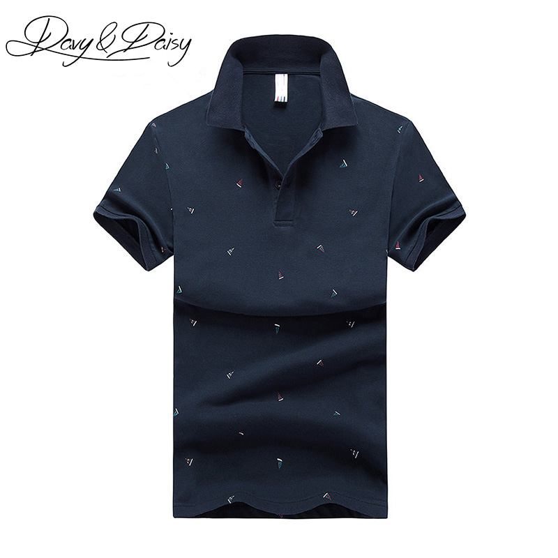 DAVYDAISY High Quality   Polo   Shirt Men Summer Short Sleeve Slim Fit Sailboat Print   Polo   Men Shirt Brand Casual Tops Tees DTS-021