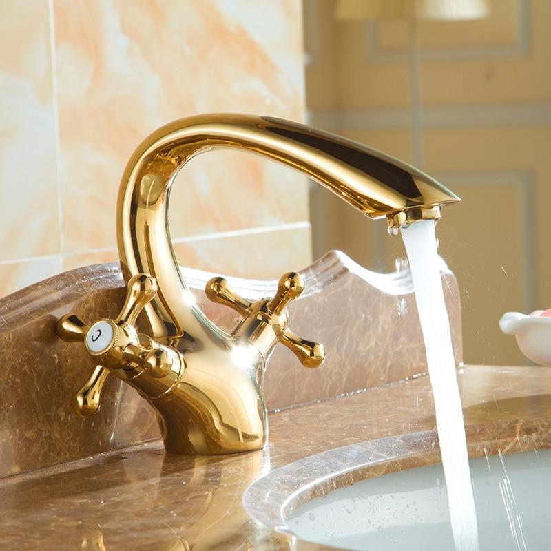 Golden single hole wash basin faucet antique, Vintage bathroom sink faucet, Copper water kitchen basin faucet mixer pull out golden single hole wash basin faucet
