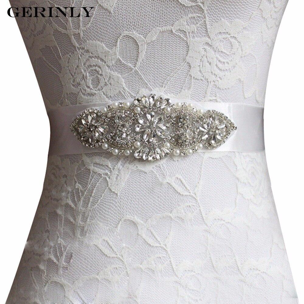Handmade crystal bridal belt rhinestone pearl luxury wedding dress - Gerinly Brand Women Belts Luxury Rhinestone Wedding Belt Beaded Pearls Bridal Sash Handmade Crystal Party Dress Gown Cummerbunds